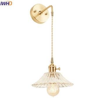 винтажные светильники для ванной | IWHD Скандинавская стеклянная настенная лампа, светильники, спальня, зеркало для ванной, Эдисон, медная настенная лампа, бра, винтажное домашн...