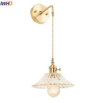 IWHD скандинавские Стеклянные Настенные светильники для спальни, ванной комнаты, зеркало, Эдисон, медная настенная лампа, бра, винтажное дома...