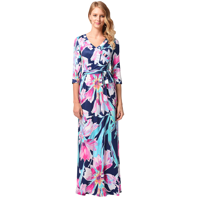 Free Shipping! Newest Beautiful Graceful Colourful Flower Print Sexy Lady Summer Dress