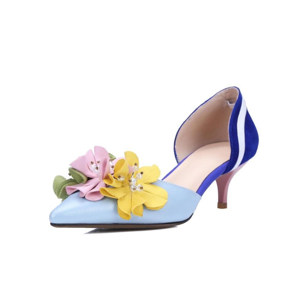 Women Elegant Colorful Flower Decoration Pointed Toe Cover Heel Pumps Fashion Slip On Low Thin Heel Party Dress Shoes women gold silver leather white pearls decoration pumps summer fashion pointed toe slip on dress shoes high thin heel shoes