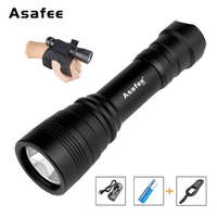Asafee DIV11 Cave Diving Flashlight 1050Lumens Cree XM L2 (U2) LED Underwater Dive Handy Flashlight+18650 Battery+Wrist Strap