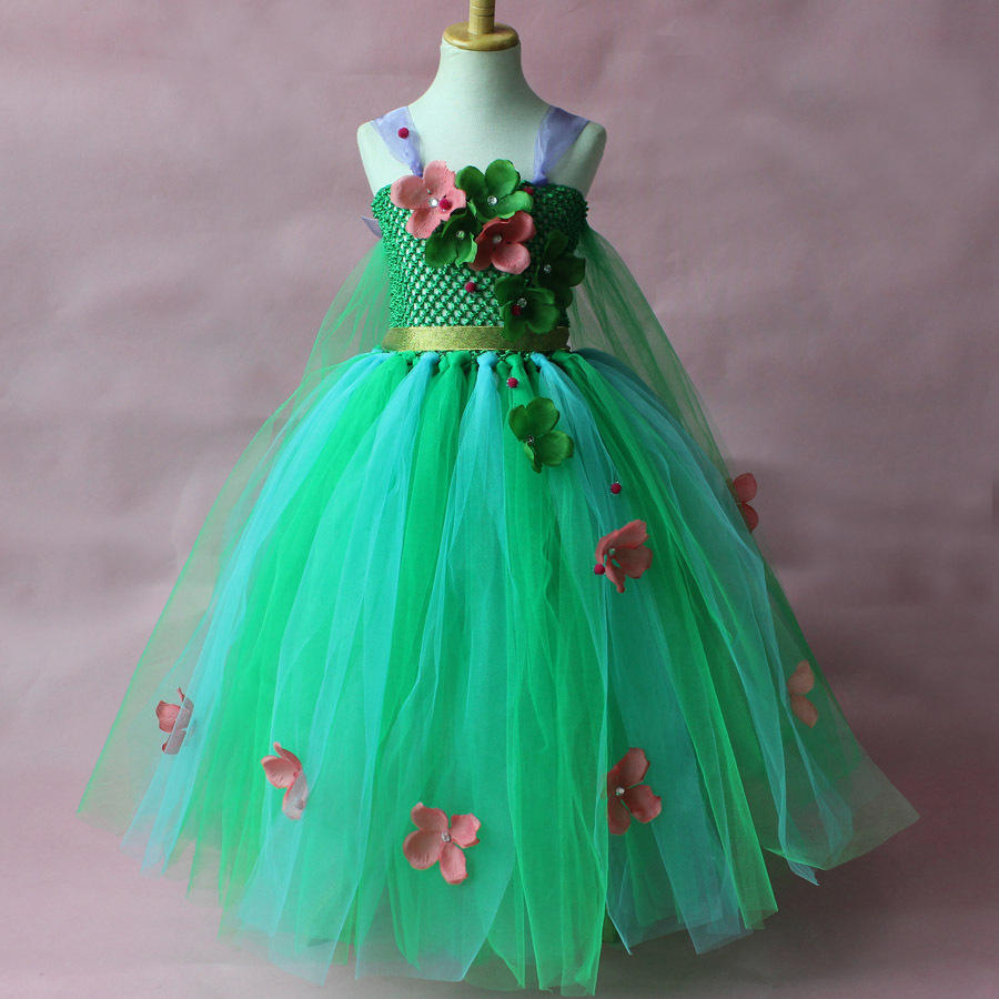 Children Green Flower Tutu Dress Girls Cosplay Princess Dress Kids Christmas Halloween Costume Girl Birthday Party Dresses fancy girl mermai ariel dress pink princess tutu dress baby girl birthday party tulle dresses kids cosplay halloween costume