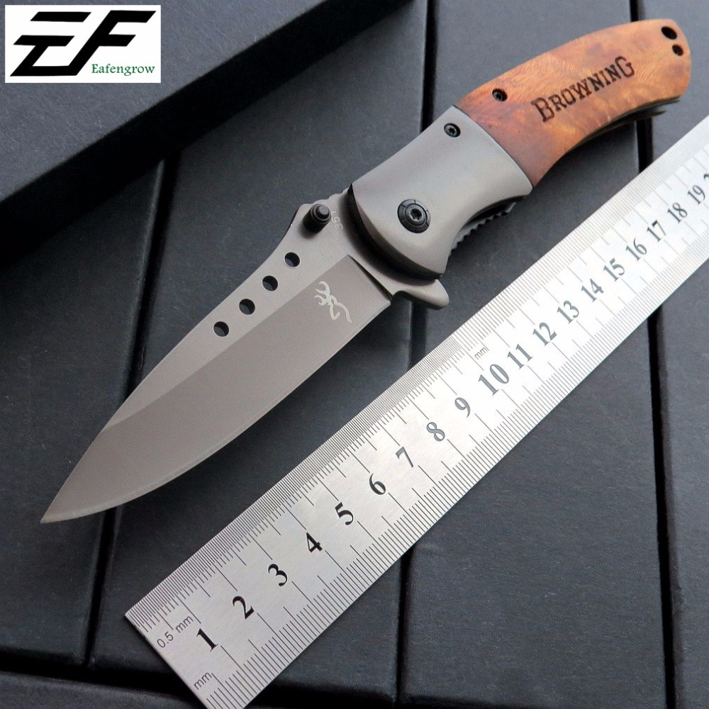 Eafengrow 351 Survival Hunting Knife Folding Knives 8Cr Steel Blade + Wood Handle Camping Tools  outdoor Rescue EDC Tool new browning folding knife stainless steel blade woodle handle camping portable survival hunting knife