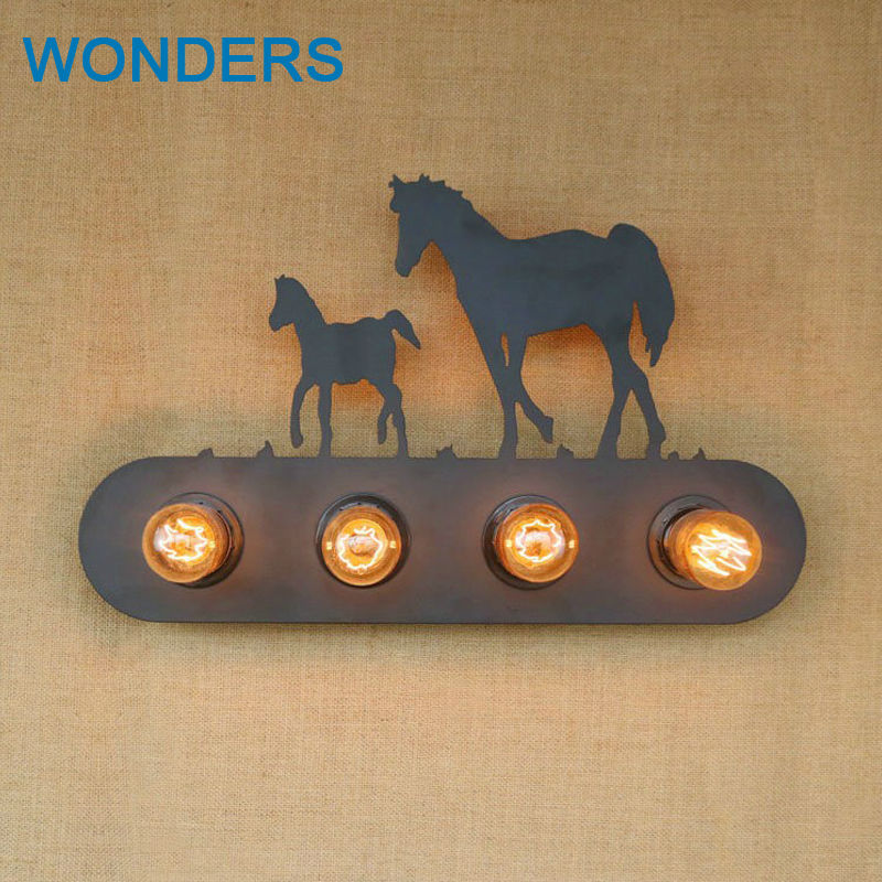 Vintage Country style 4 heads E27 art Creative horse wall lamp for bedroom bedside Restaurant aisle decor sconce iron wall light