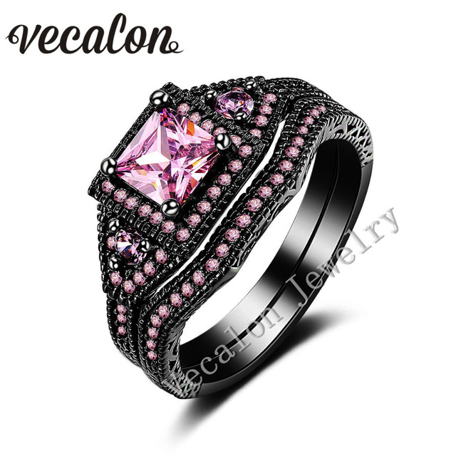 vecalon tremdy wedding band ring set for women pink stone aaaaa zircon cz 10kt black gold - Black And Pink Wedding Ring Sets