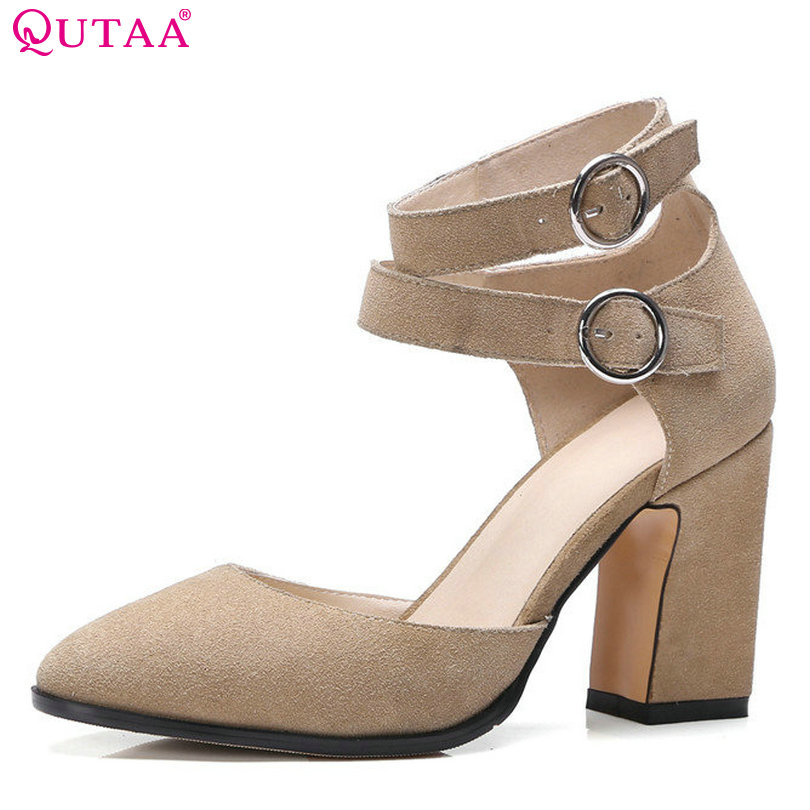 QUTAA 2017 Women Pumps Summer Ladies Shoe Square High Heel Fashion Pointed Toe Genuine Leather Woman Wedding Shoes Size 34-39 стоимость