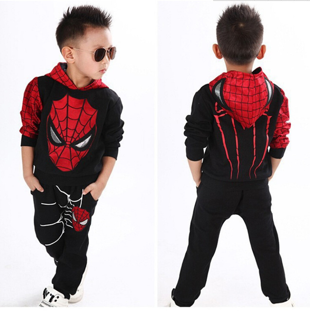 2015 NEW retail spiderman kids clothing sets children fashion cartoon autumn winter shirt + pants boys tees pants suit