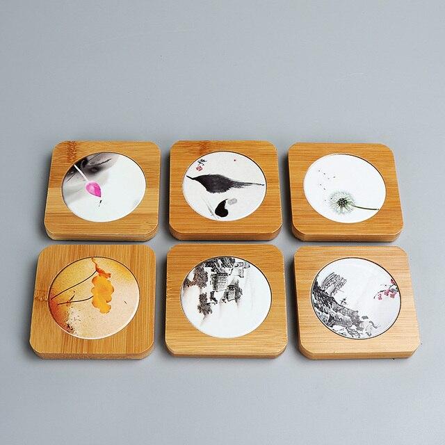 Bambus Tisch Pad Traditionellen Chinesischen Quadratische Kork Reihe