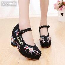 Veowalk zapatos de tacón alto grueso con flores bordadas para mujer, zapatillas femeninas de tela de algodón bordadas, con correa en el tobillo, informales, cómodos, de lona bordada
