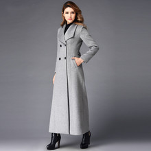 2016 Winter Fashion Women's Europe America Elegant Outwear Solid Color Gray Cashmere Overcoat Double Breasted Wool Jacket Coat