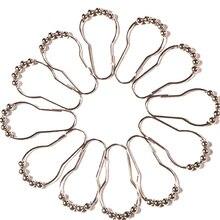 12 шт. из нержавеющей стали практичная роллер для ванны занавески для душа крючки скользящие кольца удобные аксессуары для дома