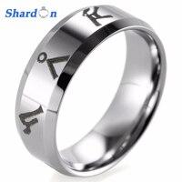 SHARDON 8mm Bevel Tungsten Carbide comfort fit lasered Stargate Atlantis address design Ring for Men's Game Wedding Band