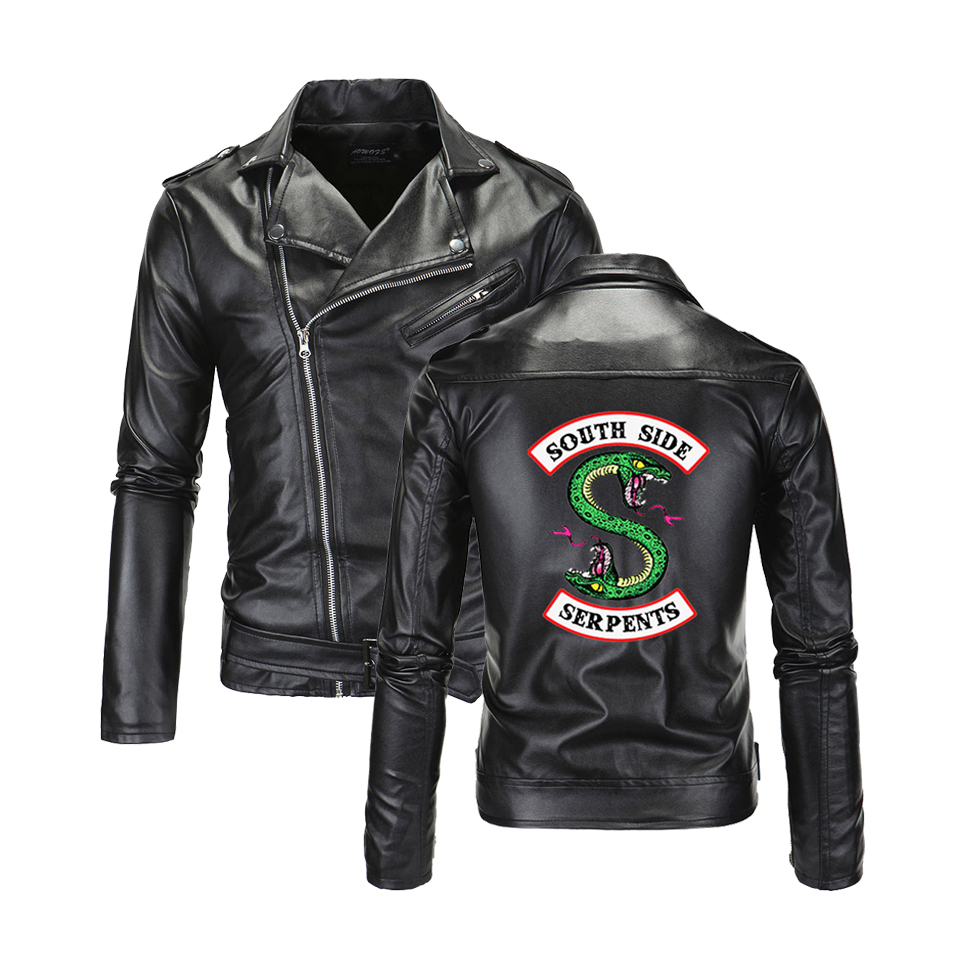 Cool Southside Riverdale Turn-down Collar Leather Jackets Serpents Men Riverdale Streetwear Leather Brand South Side Serpents