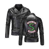 Cool Southside Riverdale Turn down collar Leather Jackets Serpents Men Riverdale Streetwear Leather Brand south side serpents