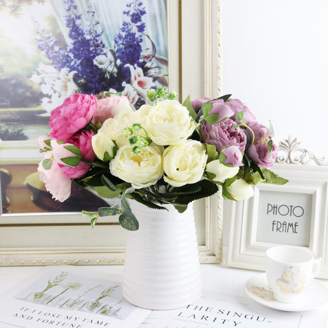 1 bundle Silk Peony bouquet home decoration accessories wedding Party scrapbook fake plants diy pompons artificial roses flowers 5