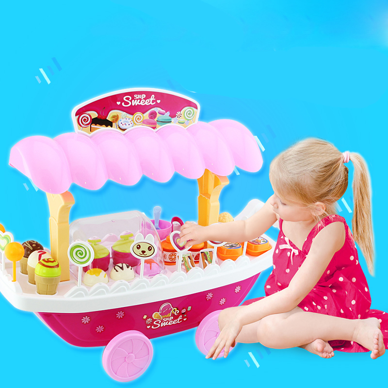 2018 New Hot Stroller for Dolls Lighting Music Candy Boats Ice Cream Toy Cars Supermarket Carts Gift Setsbasket Shopping Cart