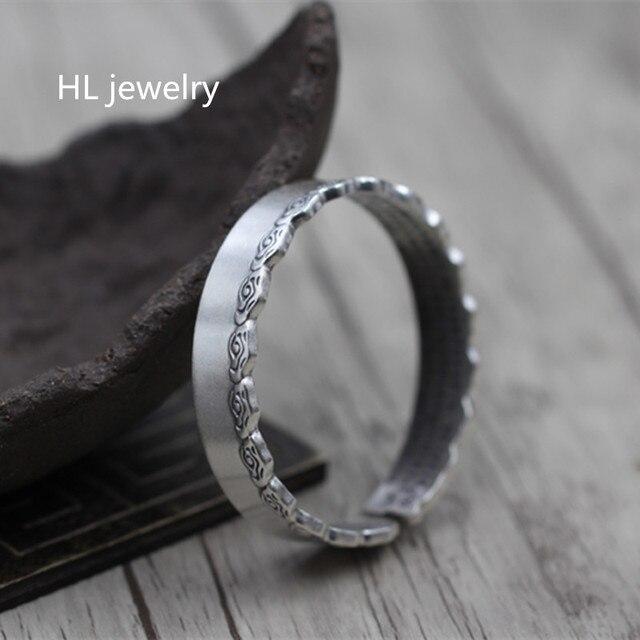 46g 925 Sterling SilverJewelry Opening Bracelet Men Women Gitfs New Jewelry Fashion Vintage High-Quality Thai Silver Bangles