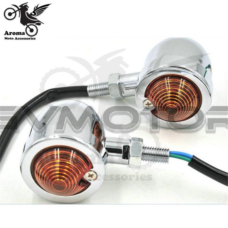 slvier chrome motorcycle LED for Harley Davidson Turn signal light universal motorbike indicator for yamaha honda suzuki moto