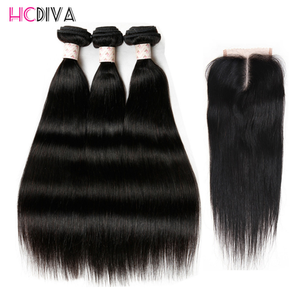 Brazilian Straight With Closure 3 Bundles 100 Remy Human Hair Bundles With Closure Natural Black Color