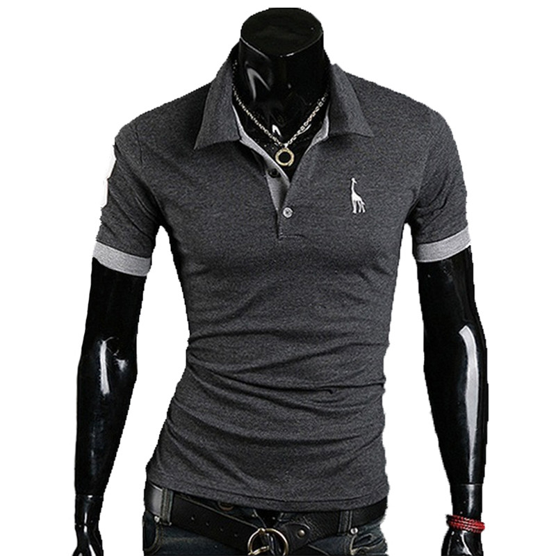 2017 Summer Fashion Brand Clothing Men polo shirt Giraffe Print Slim Fit Short Sleeve Shirts Men Cotton Casual Shirt M-3XL