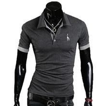 2017 Summer Fashion Brand Clothing Men polo shirt Giraffe Print Slim Fit Short Sleeve Shirts Men Cotton Casual Shirt M-3XL