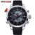 WEIDE Multifuncional Deportivo Relojes Hombres Originales Del Cuarzo de Japón Movimiento Digital LCD Dual Time Zones de Visualización De Alta Calidad de LA PU Band
