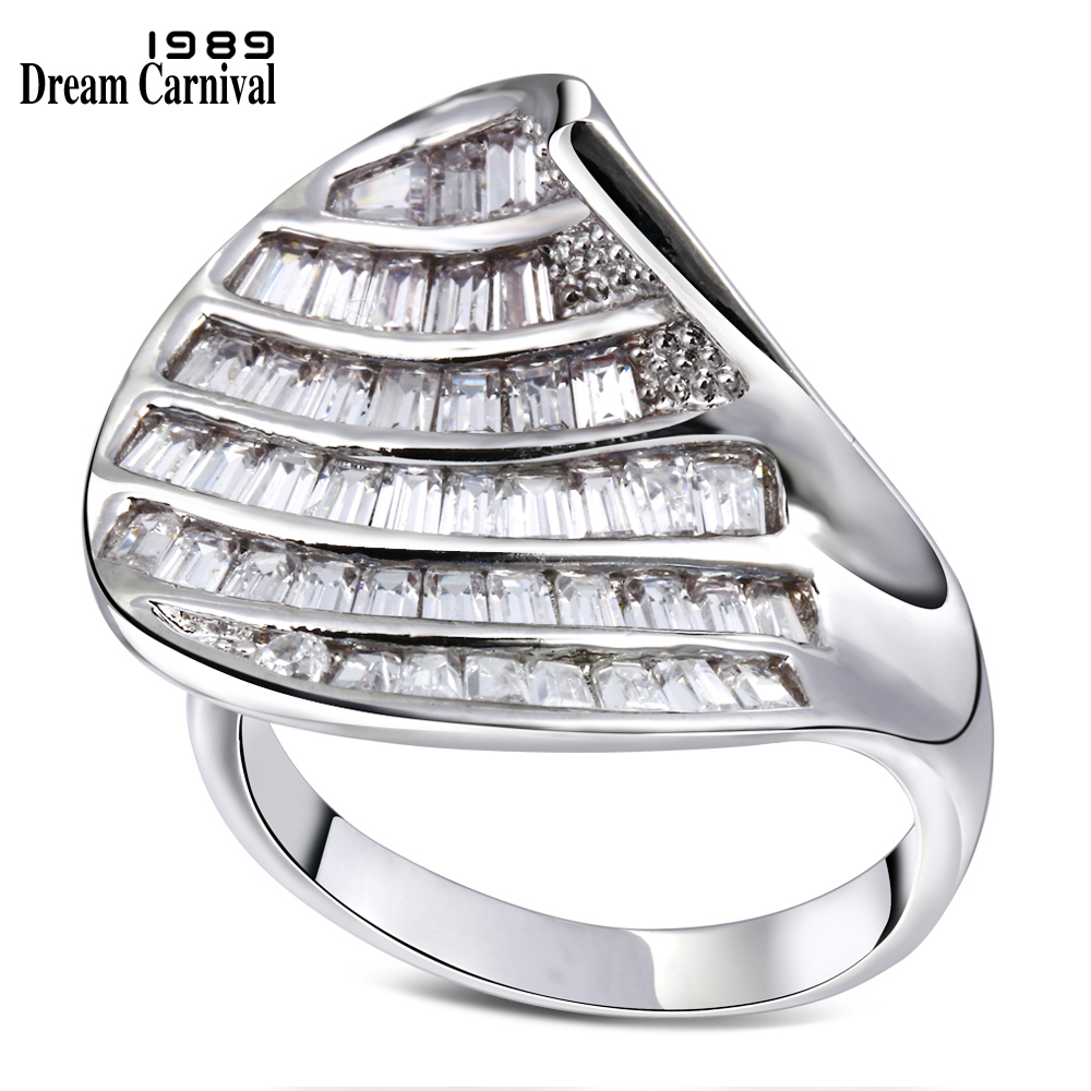 DreamCarnival 1989 Square Cut Zirconia Ring for Women Luxury Engagement Jewelry Big Discount Coupon Anillos Bagues Femme YR4512