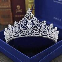 Sparkling Zircon Crystal Zircon Wedding Crowns Headband European Silver Bridal Tiara Party Show Pageant Wedding Hair Accessories