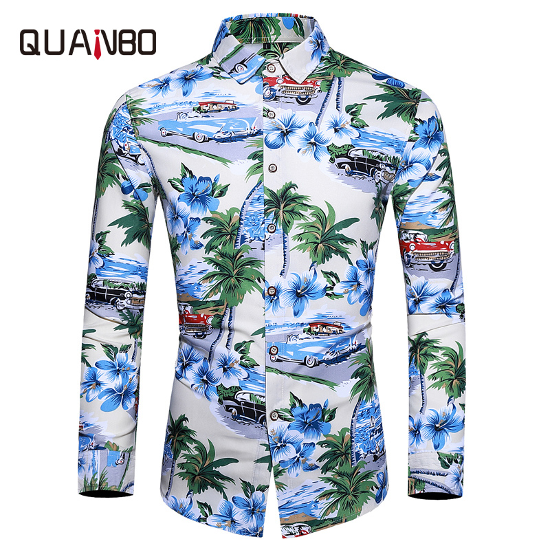 Mens Floral Color Hawaiian Shirt 2019 Spring Autumn New Men Clothes Long Sleeve Shirts Casual Men Shirt Large Size M -6XL 7XL