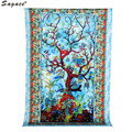 Trendy Blue Tree Hippy Tapestry Astrology Wall Hanging Ethnic Decorative Art Women Beach Bikini Cover Up Shawl Pashmina Aug18