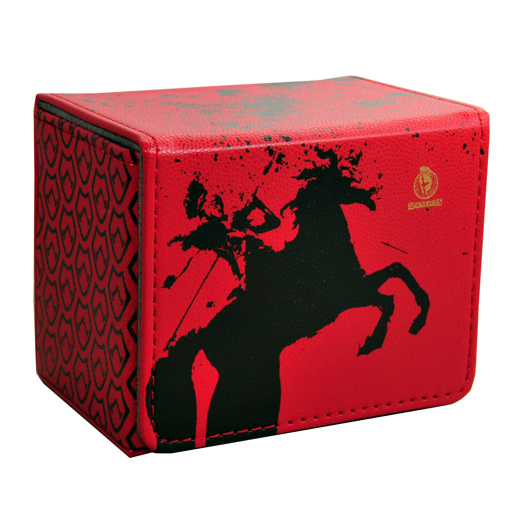 TW Card Box Spartak Cross Horizontal Style Deck Box Leather Deck Case Suitable for MGT/YGO/PKM/CFV Holding 90 Sleeved Cards