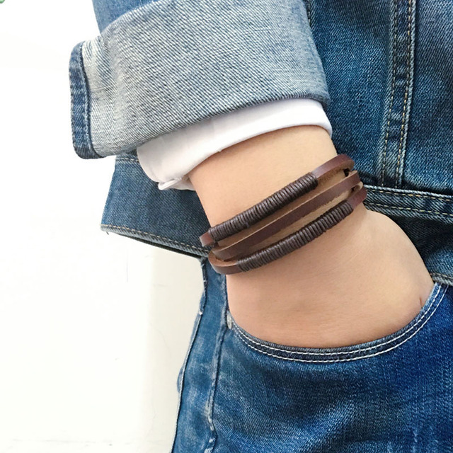 Fashion jewelry handmade wrap genuine cow leather men bracelets&bangles for women wristband men 2017 rope chain charm