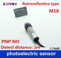 M18 Retroreflective type PNP NO/ normally open DC 10-30V 3 wires photoelectric sensor switch with mirror reflector, distance 2m