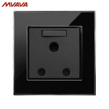 MVAVA 15A 3 Round Pin Switched Socket South Africa Standard Outlet With 1 Gang Wall Receptacle Luxury Mirror Black Free Shipping