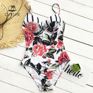 Image 2 - CUPSHE Floral Printing One piece Swimsuit Women Adjustable Push Up Heart Neck Monokini 2020 Sexy Beach Bathing Suits Swimsuits