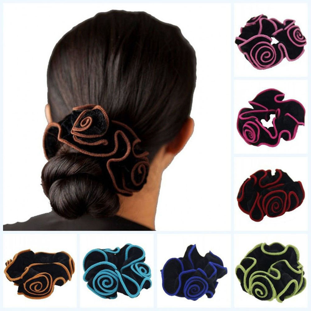 New Women Ladies Gold Velvet Flower Hair Scrunchies ...