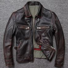 Darmowa wysyłka. Prezent sprzedaży Brand new men płaszcz ze skóry wołowej. Wysokiej jakości gruba męska kurtka z prawdziwej skóry. Skórzane ubrania w stylu vintage