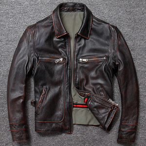 Image 3 - Free shipping.sales gift Brand new men cowhide coat.winter warm mens genuine Leather jacket.vintage style man leather clothes