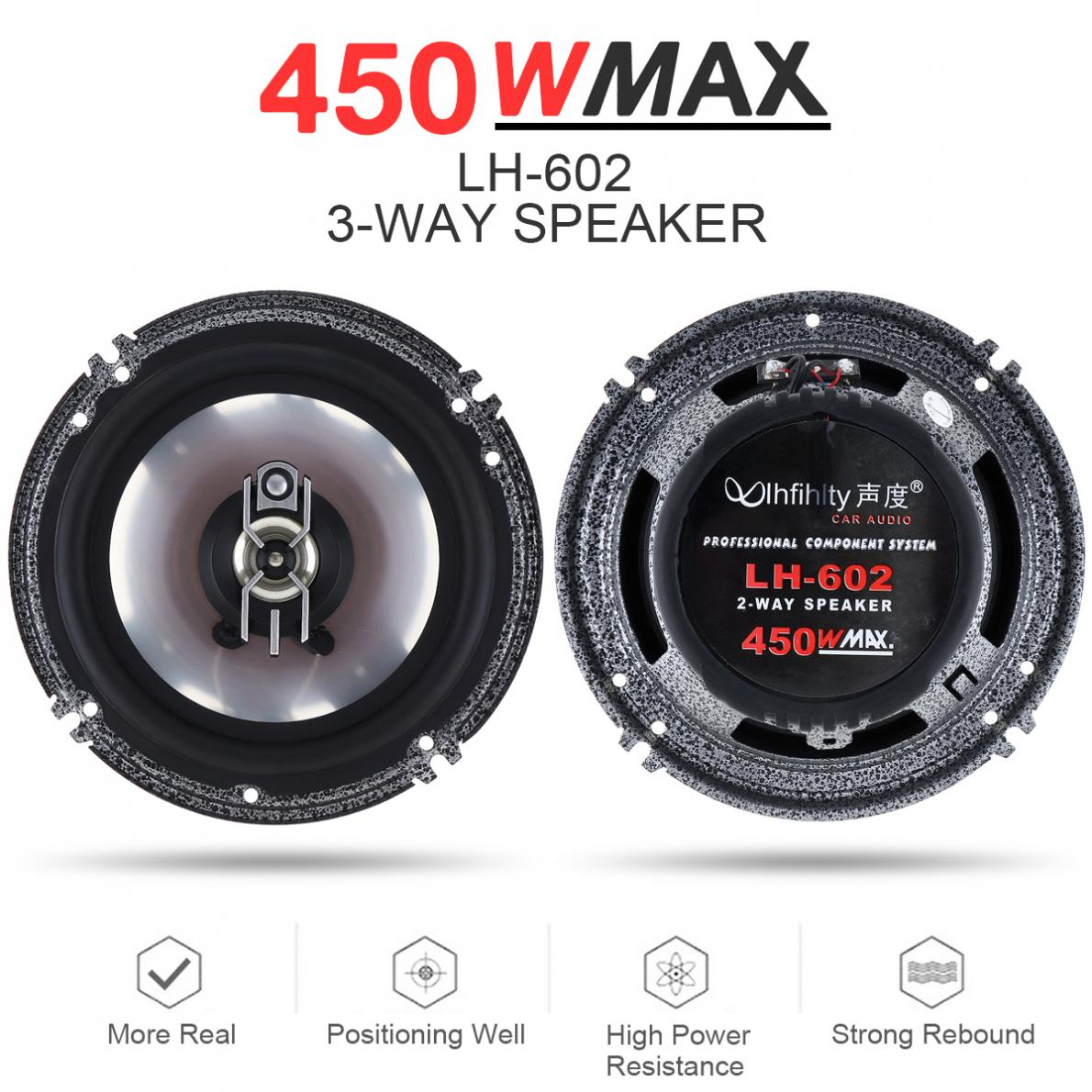 2pcs 3 Way 6 Inch 450W Car Coaxial Auto Audio Music Stereo Full Range Frequency Hifi Speakers Non-destructive Installation image