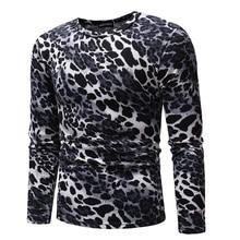 Autumn Men Leopard print Tshirt Long Sleeve Slim Fit Casual Plus Size Tee Tops Male Clothing 2019 Streetwear Man Pullover Top