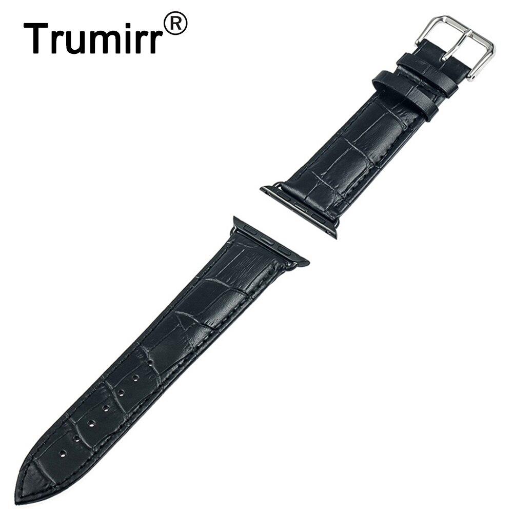 cba1137b0b5c 22mm 24mm reloj de cuero genuino para 38mm 42mm iWatch Apple reloj banda  pulsera brazalete con adaptador de Conector de Enlace