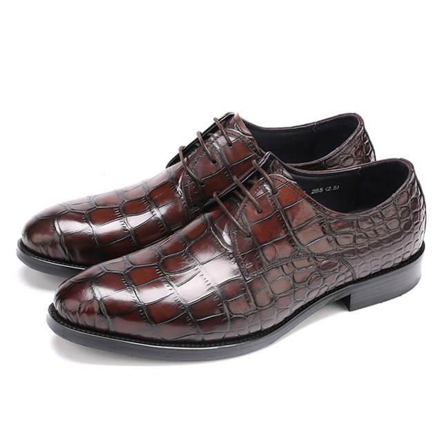 US $209.0 |GRIMENTIN männer schuhe leder stiefel casual schwarz braun spitze up marke krokodil männer stiefeletten für business auf AliExpress