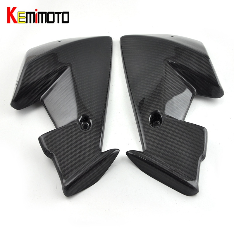 KEMiMOTO For Yamaha MT 07 MT07 Wind pocket twill weave Real Carbon Fiber FZ-07 MT-07 2013 2014 2015 2016 titanium cnc aluminum racing adjustable rearset foot pegs rear sets for yamaha mt 07 fz 07 mt07 fz07 2013 2014 2015 2016