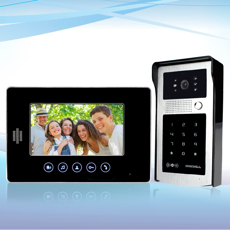Home 7 inch TFT LCD Wired Monitor Color Video Door Phone+IR COMS Outdoor Camera With  RFID Keypad Doorphone For Intercom System wired video door phone intercom doorbell system 7 tft lcd monitor screen with ir coms outdoor camera video door bell