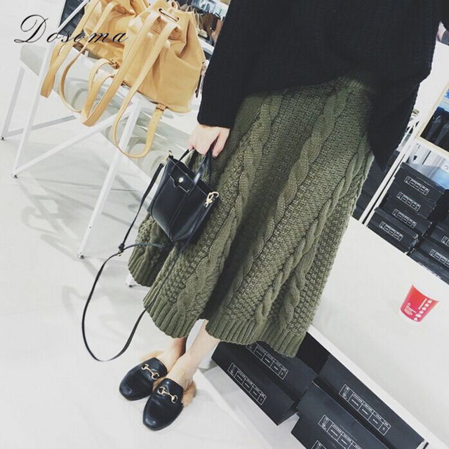 warm knit skirt 2017 fashion autumn/winter apricot knitted skirt korean style army green women skirt thick long skirt black