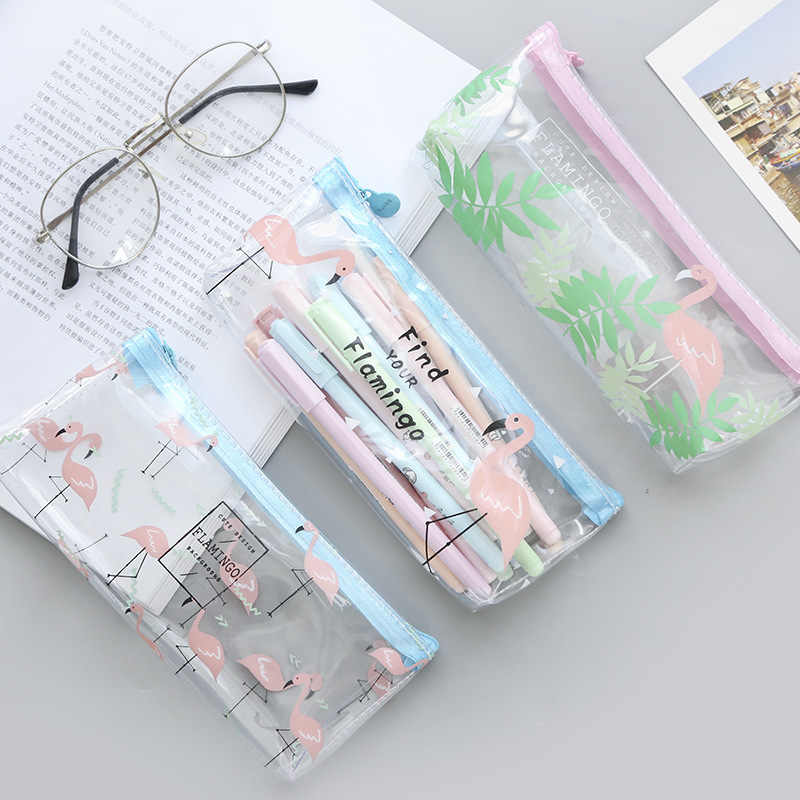 1 Pieces Cute Pencil Case Large Capacity Transparent Pen Bags Office Supplies Waterproof PVC Stationery Pencil Bag School Case