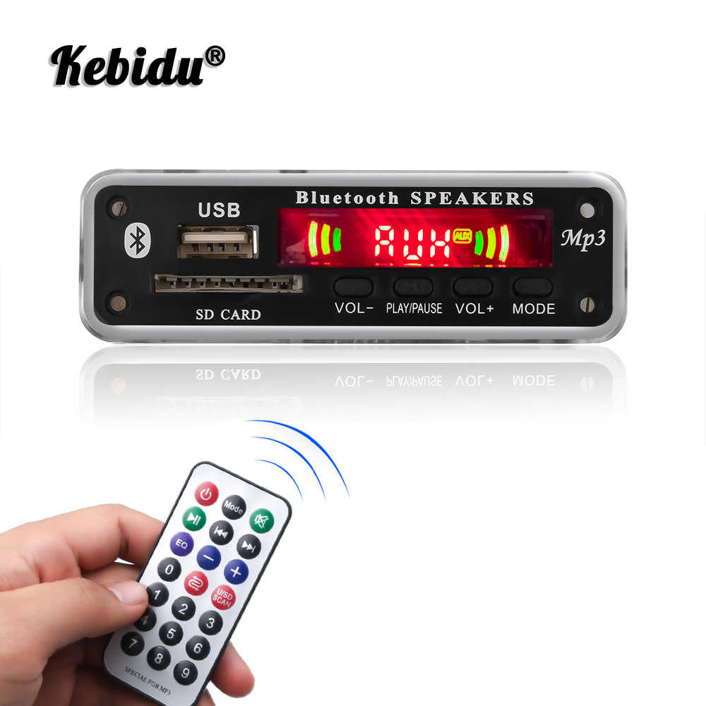 Kebidu DC 5V 12V Automobile Auto Bluetooth MP3 WMA FM AUX Scheda di Decodifica Audio Piastra Modulo SD Card USB Radio Auto MP3 Altoparlante