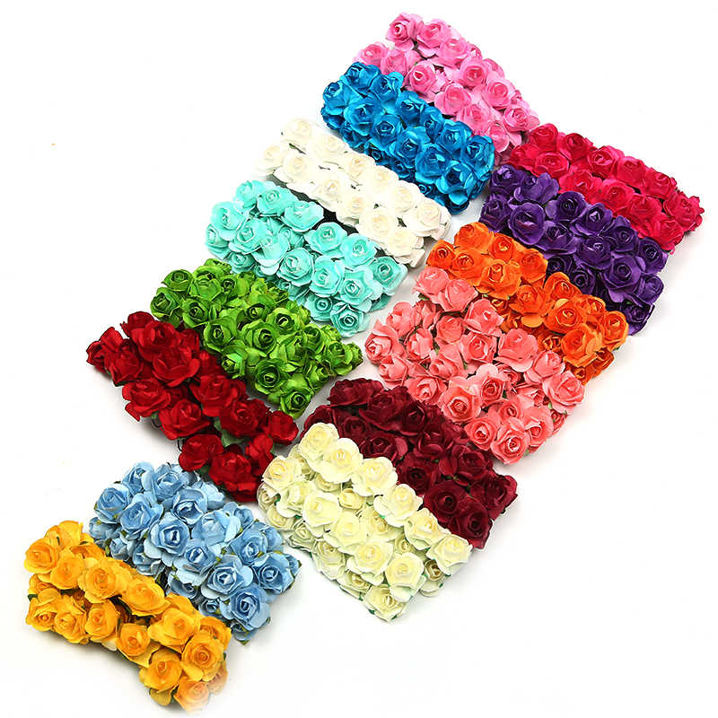 144 pcs/lot Paper Rose Handmade Artificial Flowers Bouquet For Wedding  Decoration DIY Scrapbooking Garland Fake Flowers