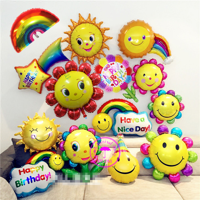 Sunflower Cloud Shaped Balloons Wedding Helium Emoji Birthday Decoration Smiley Face Smile Rainbow Party