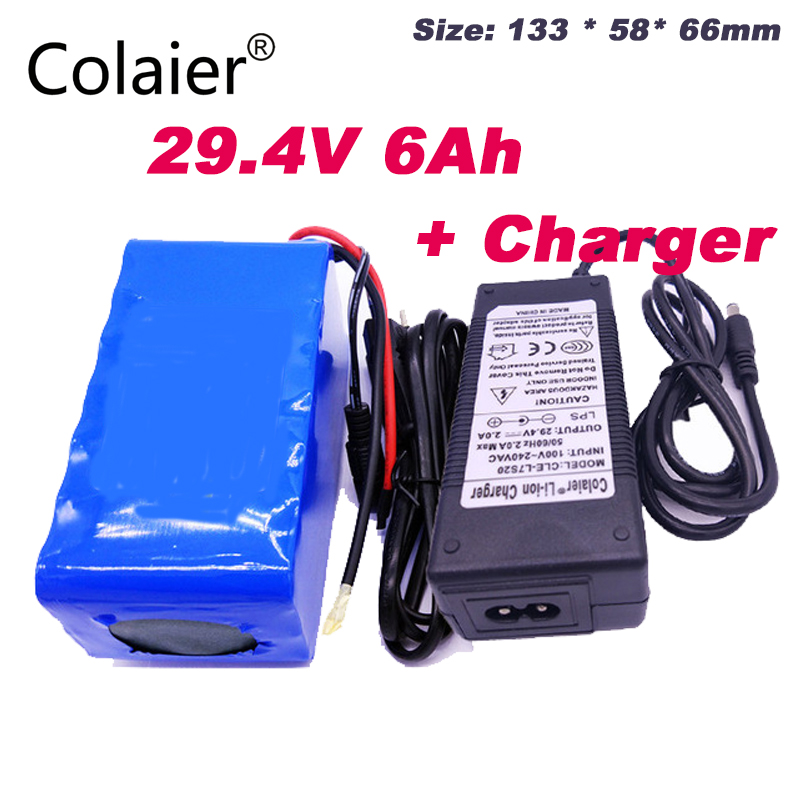 Colaier 24V 6Ah 7S3P 18650 Battery li ion battery 29.4v 6000mah electric bicycle moped /electric +29.4V 2A charger Battery Packs     - title=